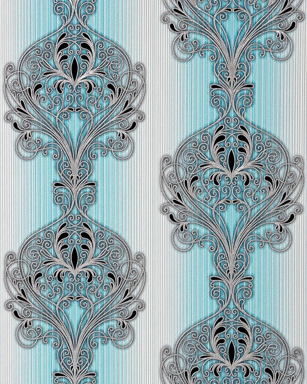 Barock Tapete T?rkis Wei? : Turquoise Silver and Black Wallpaper