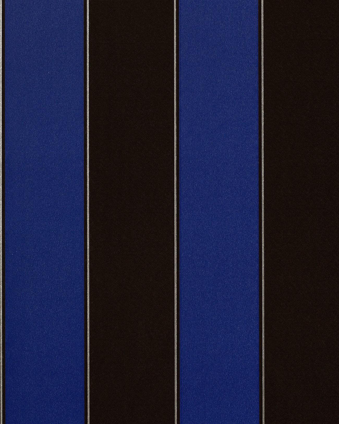 Carta da parati disegno classico EDEM 771-37 a righe colore marrone scuro blu reale argento