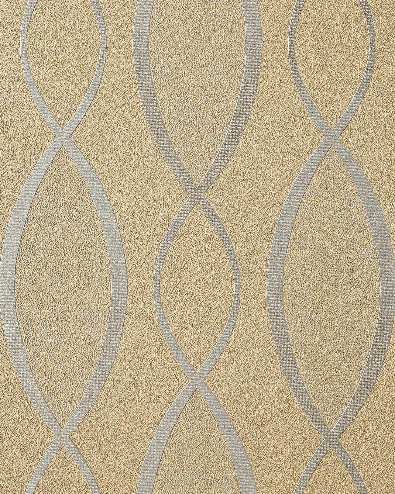 Carta da parati a linee ondulate incrociate glitterata for Carta da parati beige